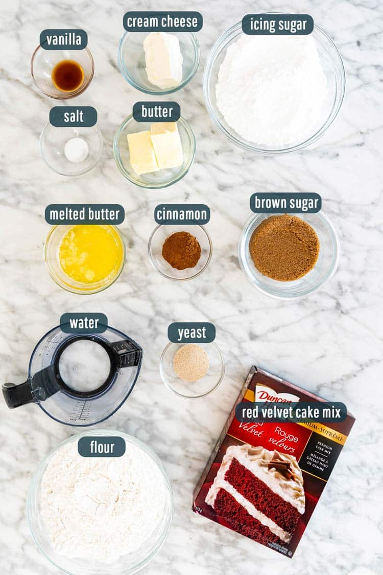 overhead shots of ingredients needed to make red velvet cinnamon rolls
