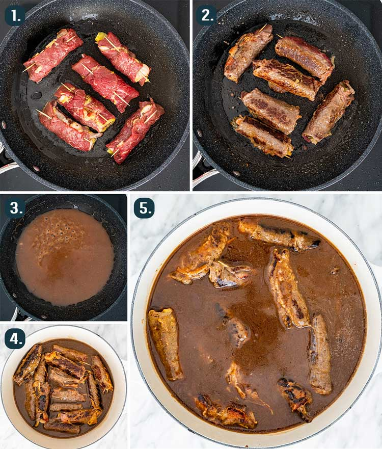 process shots showing how to sear beef rouladen and make gravy