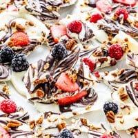 side view shot of berry chocolate yogurt bark broken into pieces