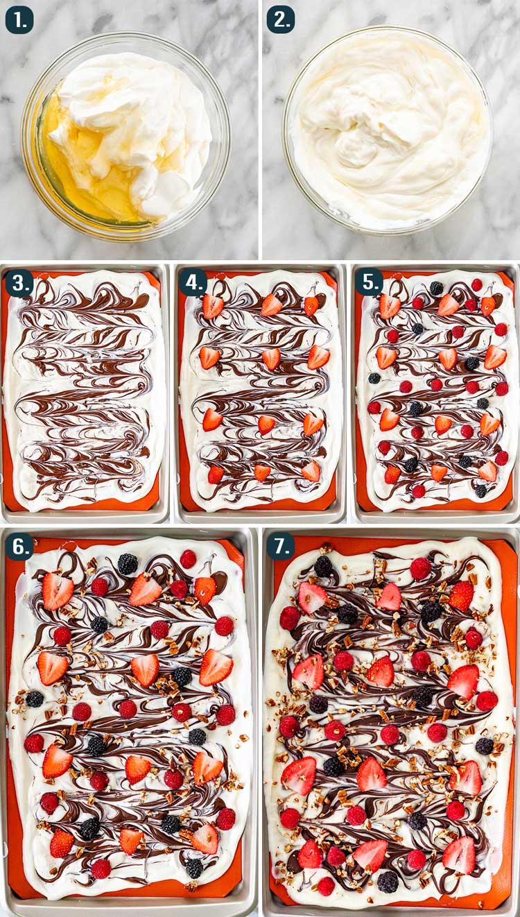 process shots showing how to make yogurt bark