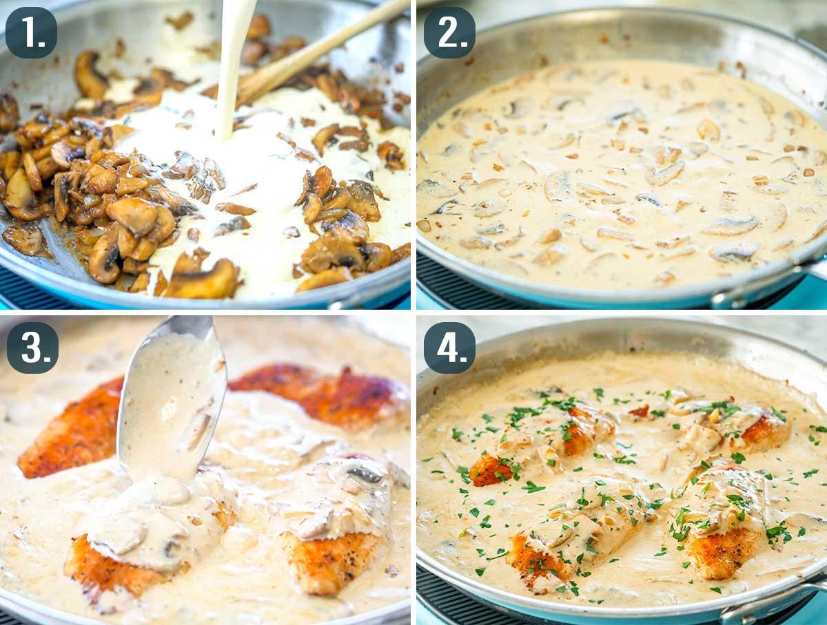 process shots showing how to make creamy mushroom sauce.
