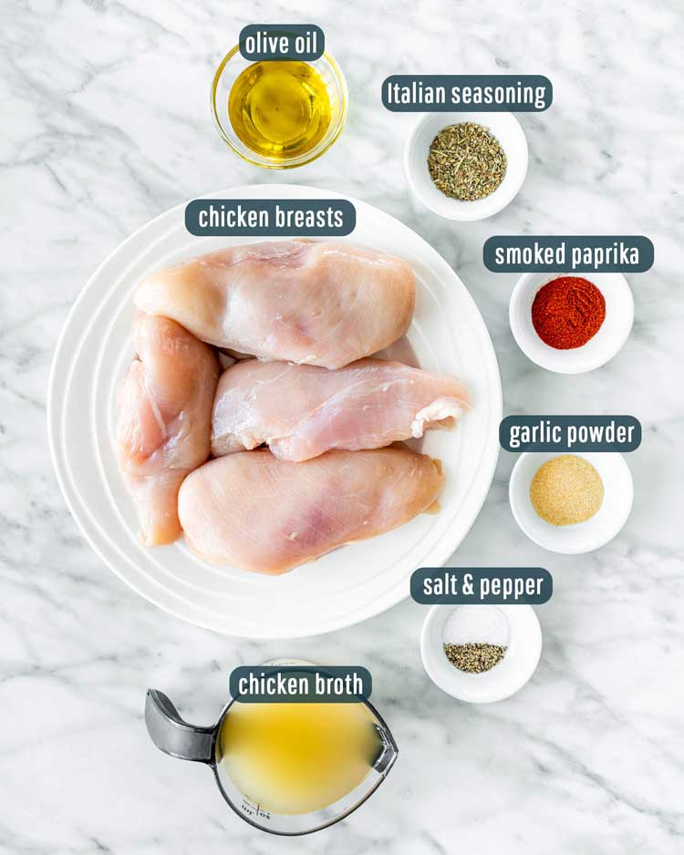 overhead shot of ingredients needed to make chicken breasts in the instant pot