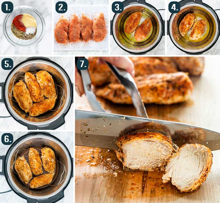 process shots showing how to make instant pot chicken breasts