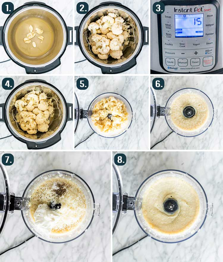 process shots showing how to make mashed cauliflower in the instant pot
