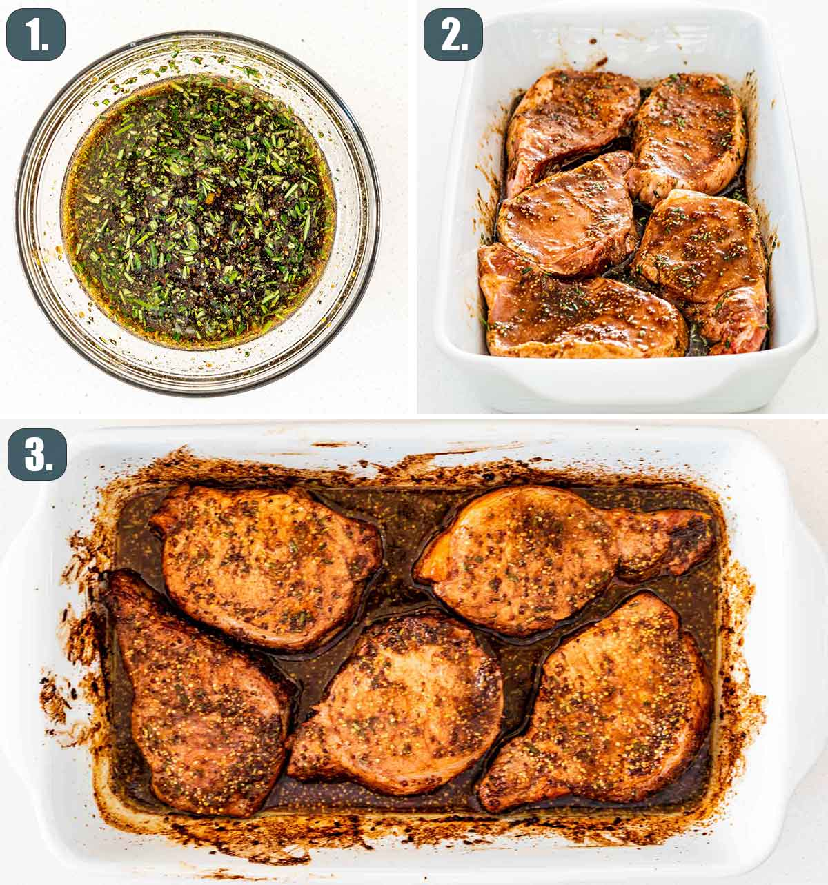 detailed process shots showing how to make mustard balsamic pork chops.