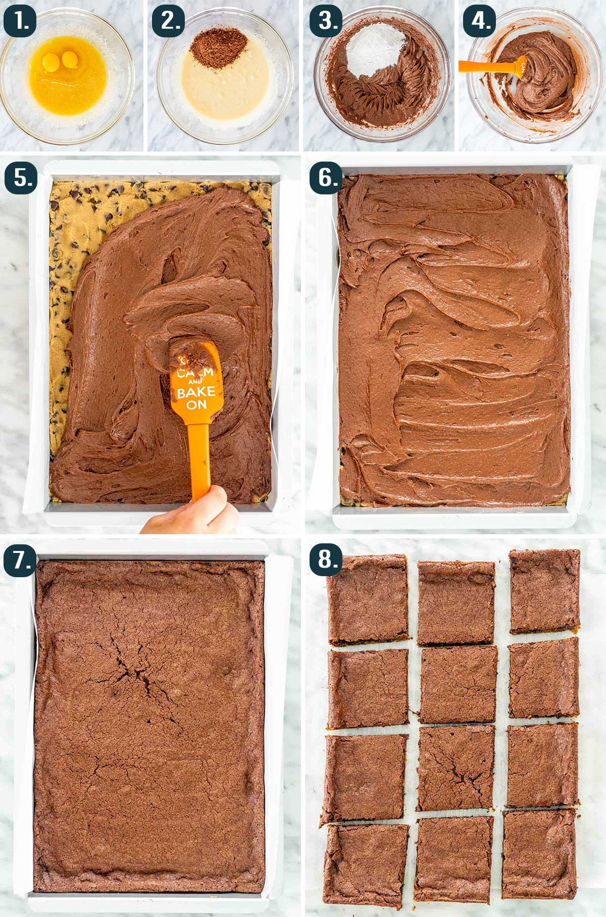 process shots showing how to make the brownie layer of brookies