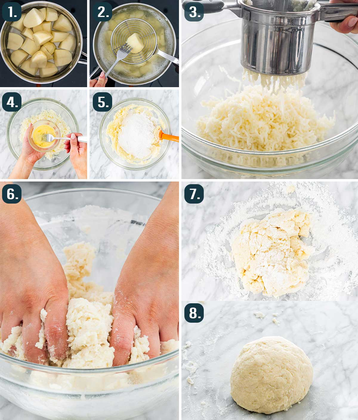 process shots showing how to make dough for potato gnocchi