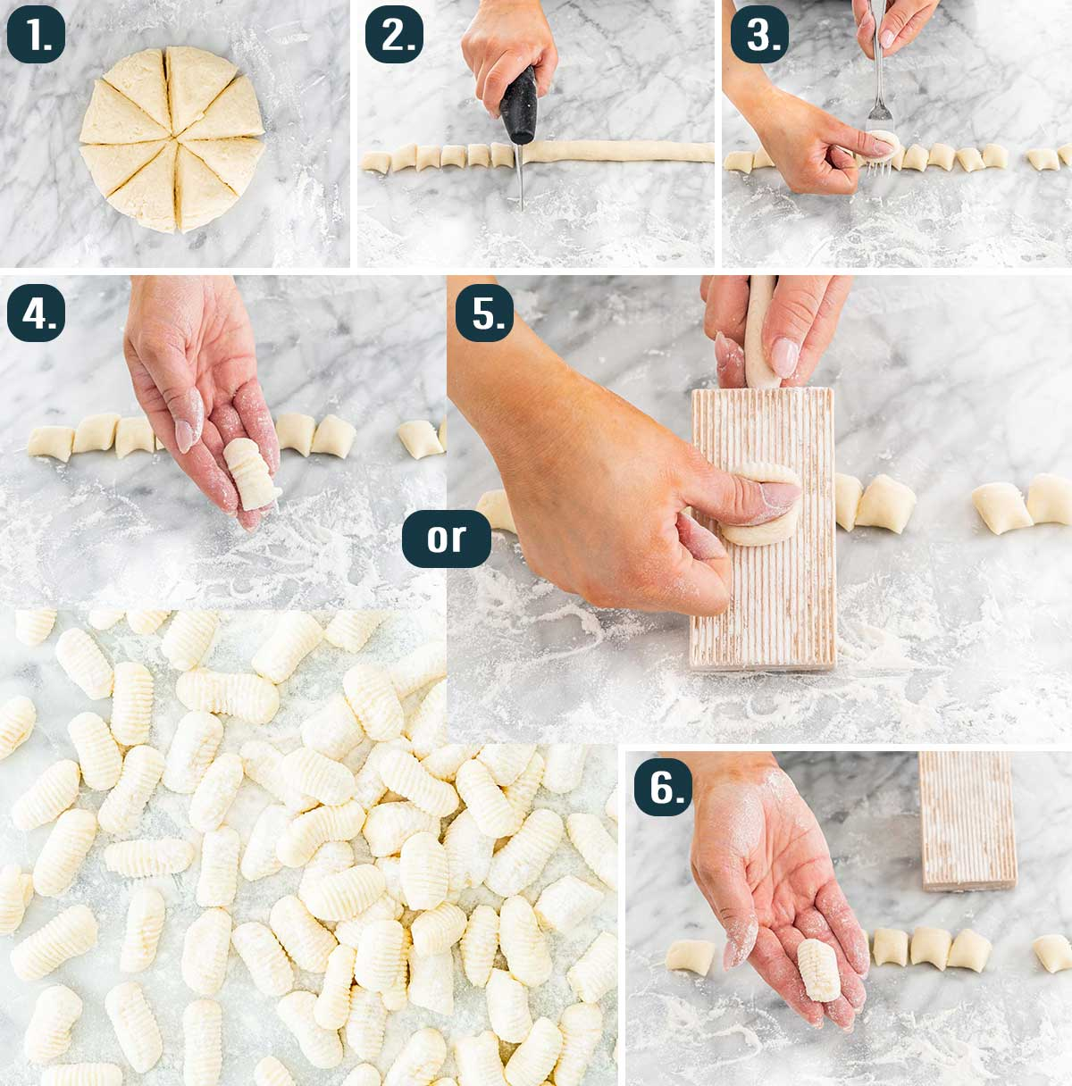 process shots showing how to cut and shape gnocchi