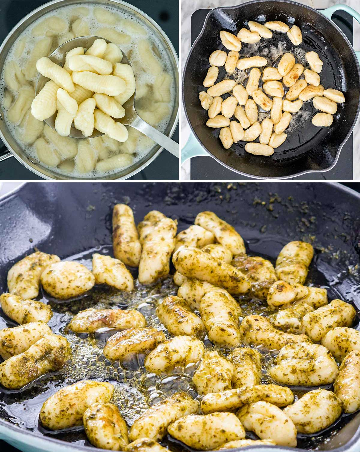 process shots showing how to cook gnocchi