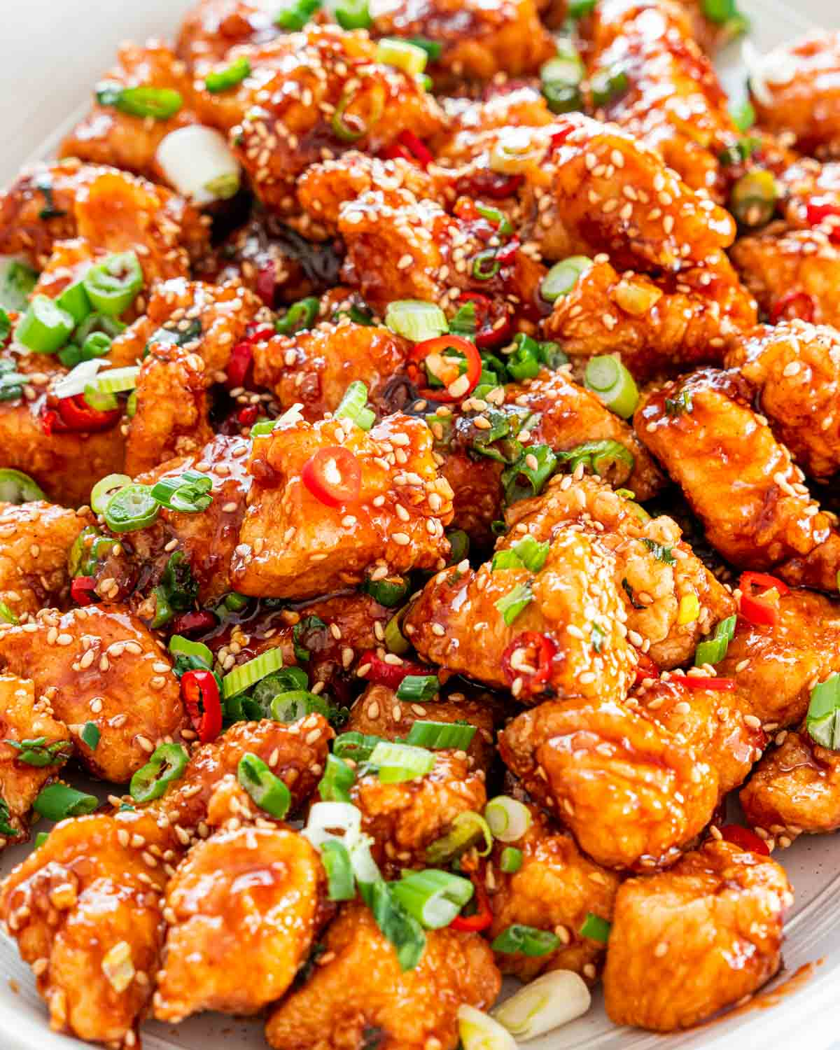 closeup of korean fried chicken