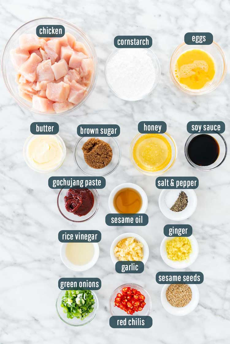 overhead shot of ingredients needed to make korean fried chicken