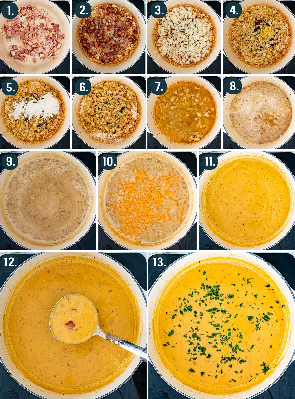 process shots showing how to make beer cheese soup