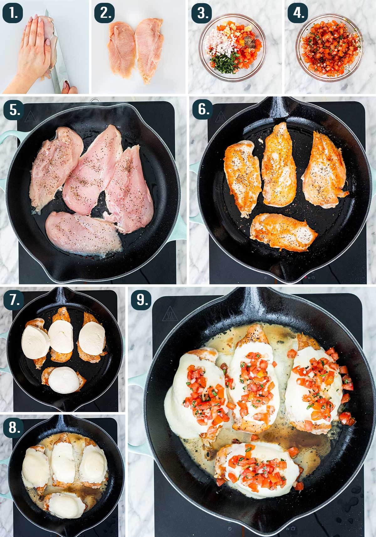 process shots showing how to make bruschetta chicken