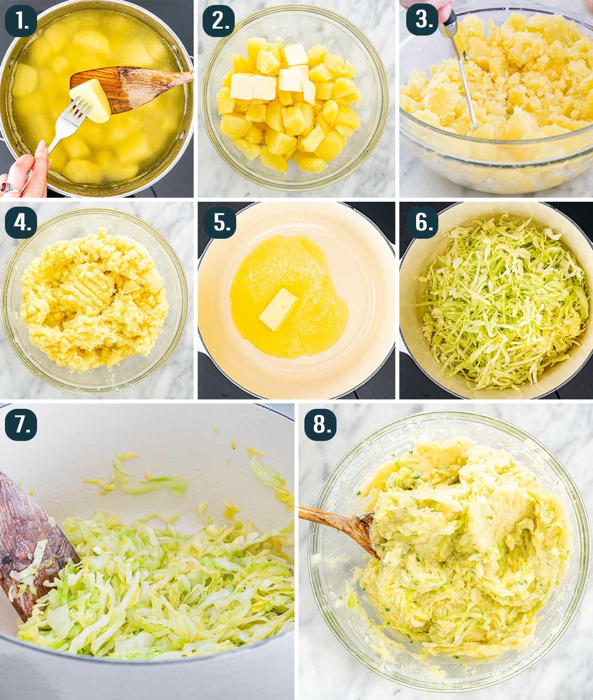 process shots showing how to make colcannon
