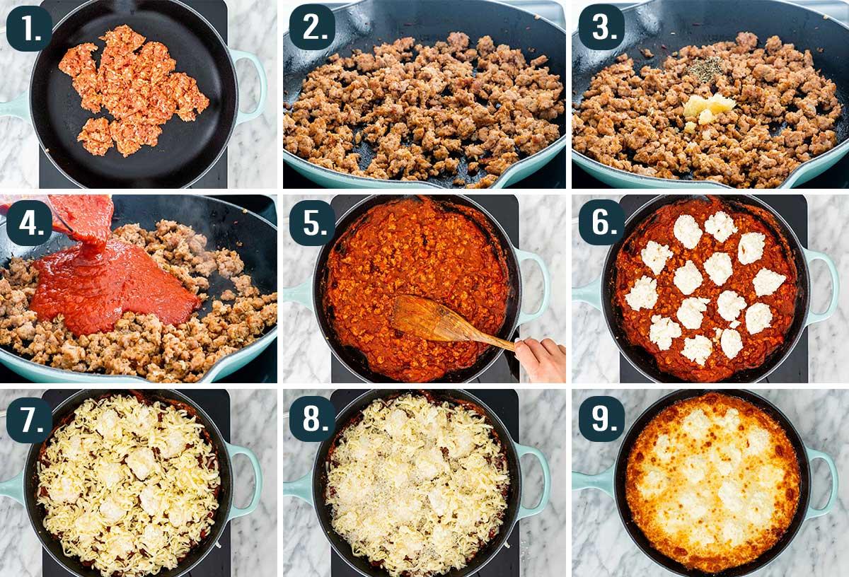 process shots showing how to make lasagna dip