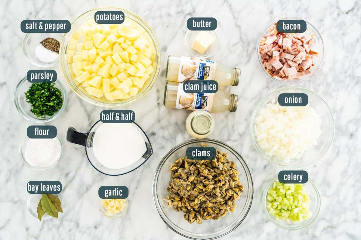 overhead shot of ingredients needed to make clam chowder