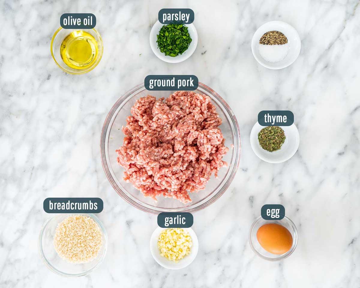 overhead shot of ingredients needed to make pork sausage