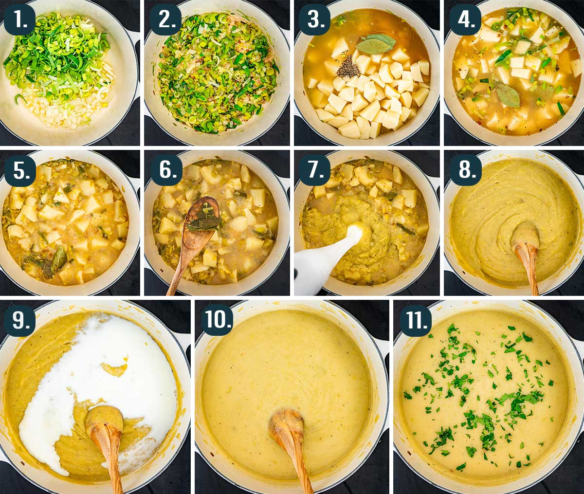 process shots showing how to make potato leek soup