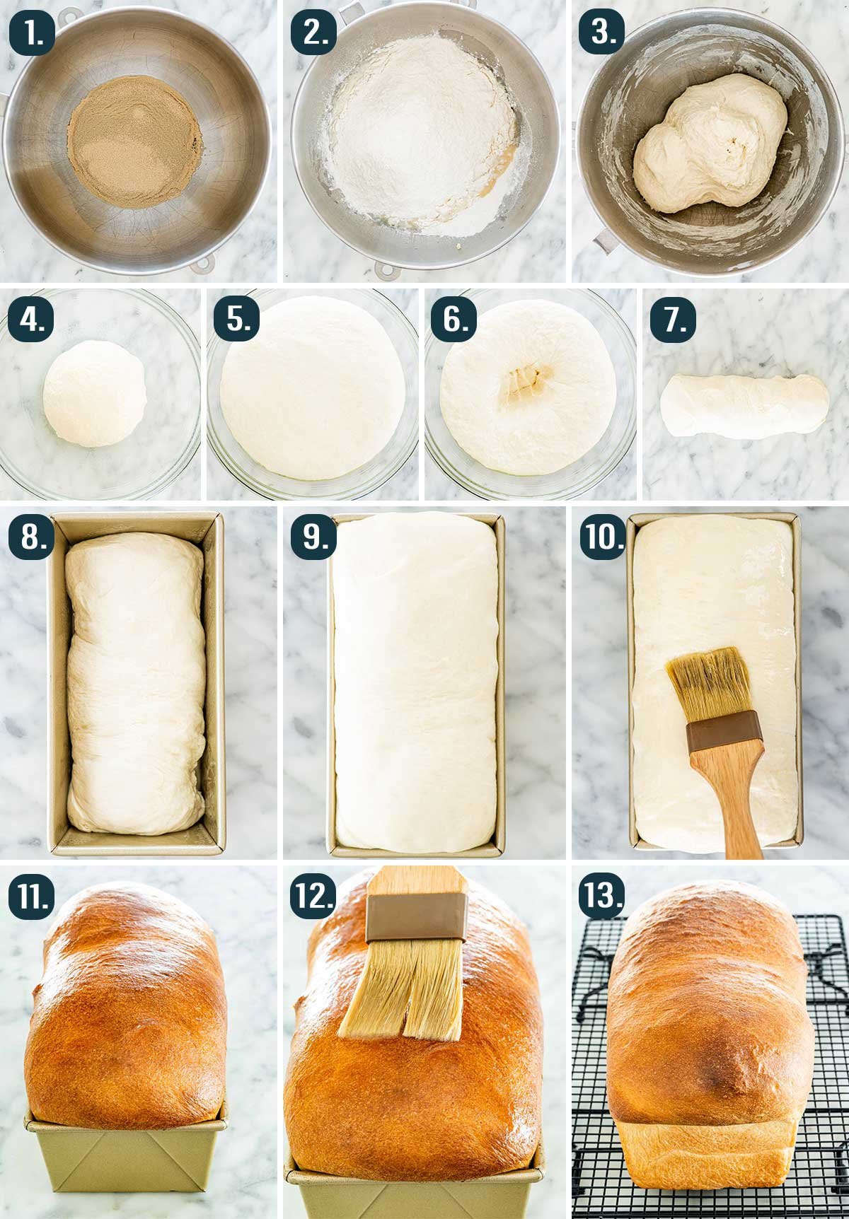 process shots showing how to make white bread