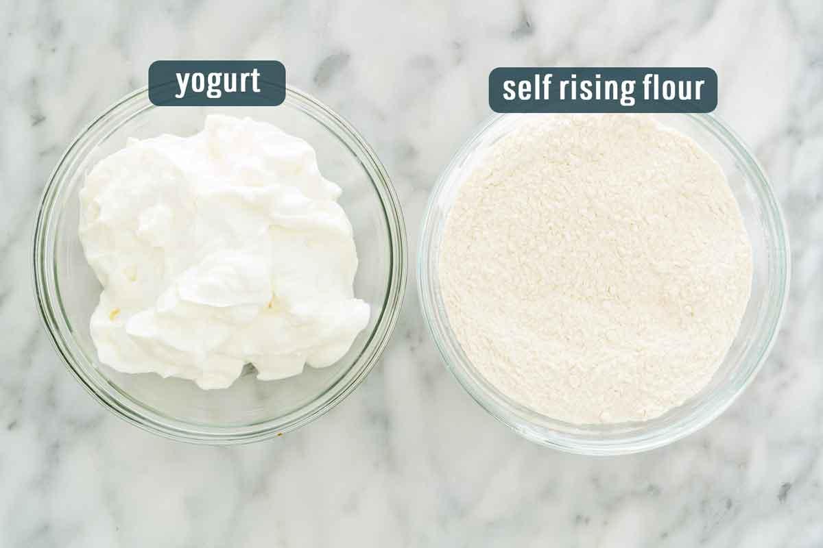 overhead shot of ingredients needed to make 2 ingredient dough