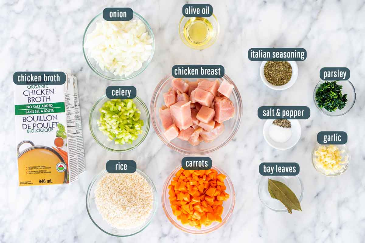 overhead shot of all ingredients needed to make chicken and rice soup