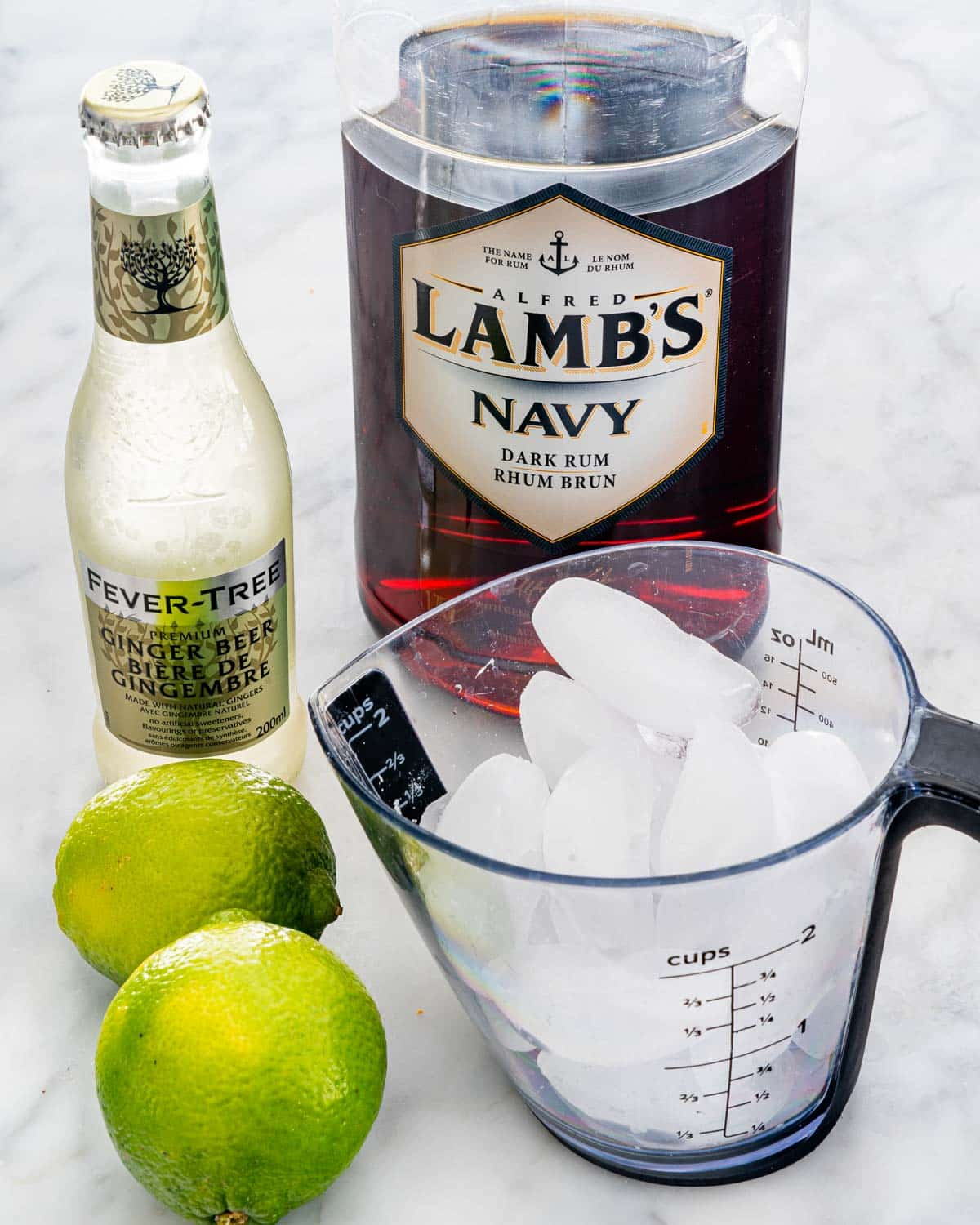 ingredients needed to make a dark and stormy cocktail