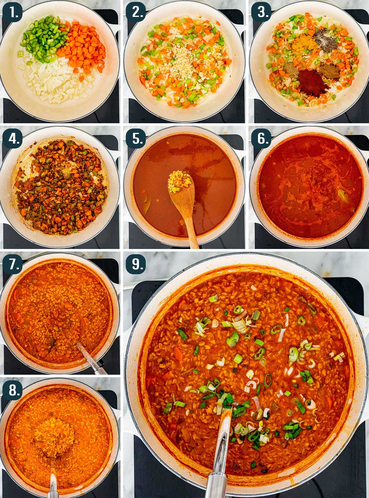 process shots showing how to make lentil soup