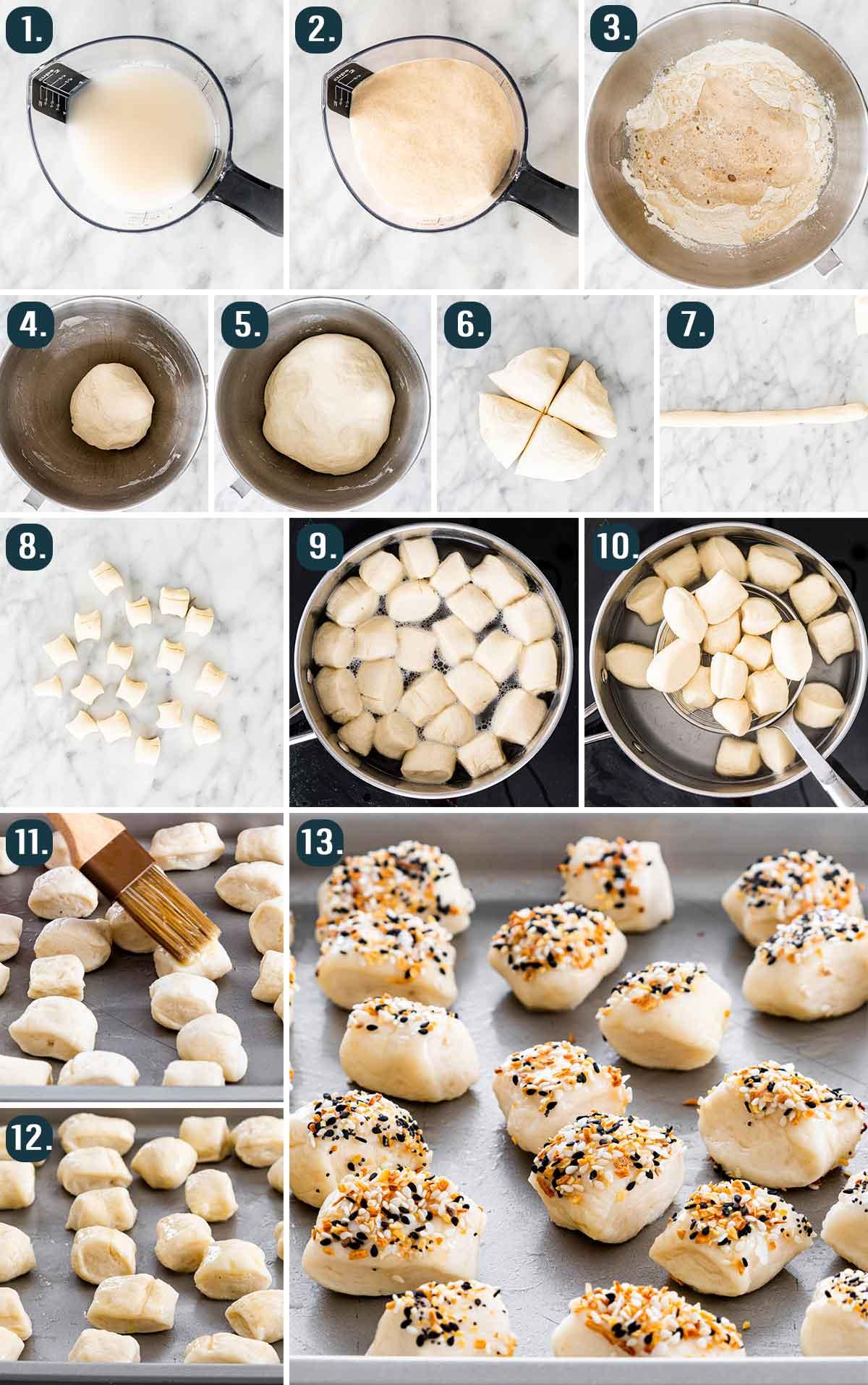 process shots showing how to make pretzel bites