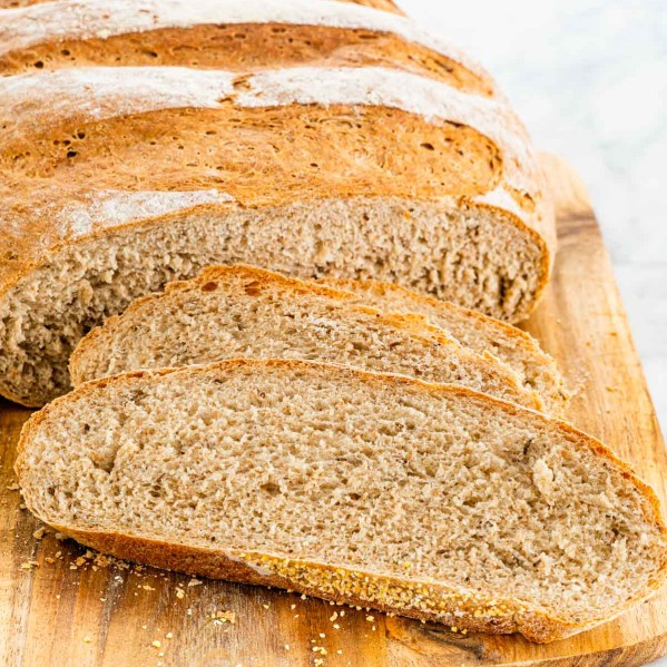 slices of freshly baked rye bread