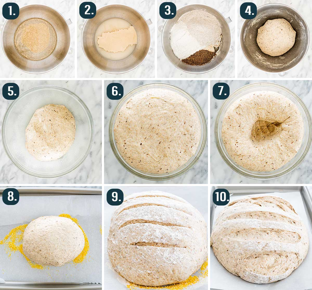 process shots for showing how to make a rye bread