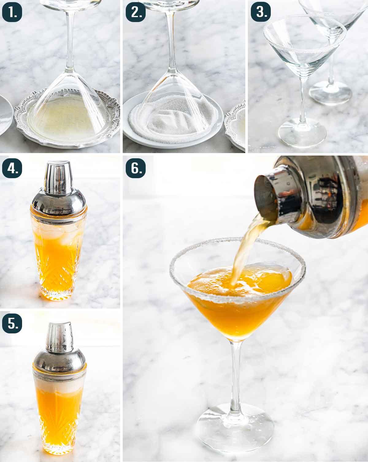 process shots showing how to make an earl grey martini