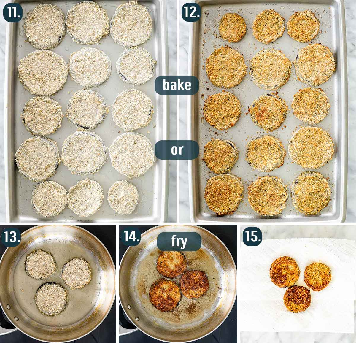 process shots showing how to bake the eggplant rounds for eggplant parmesan or how to fry them