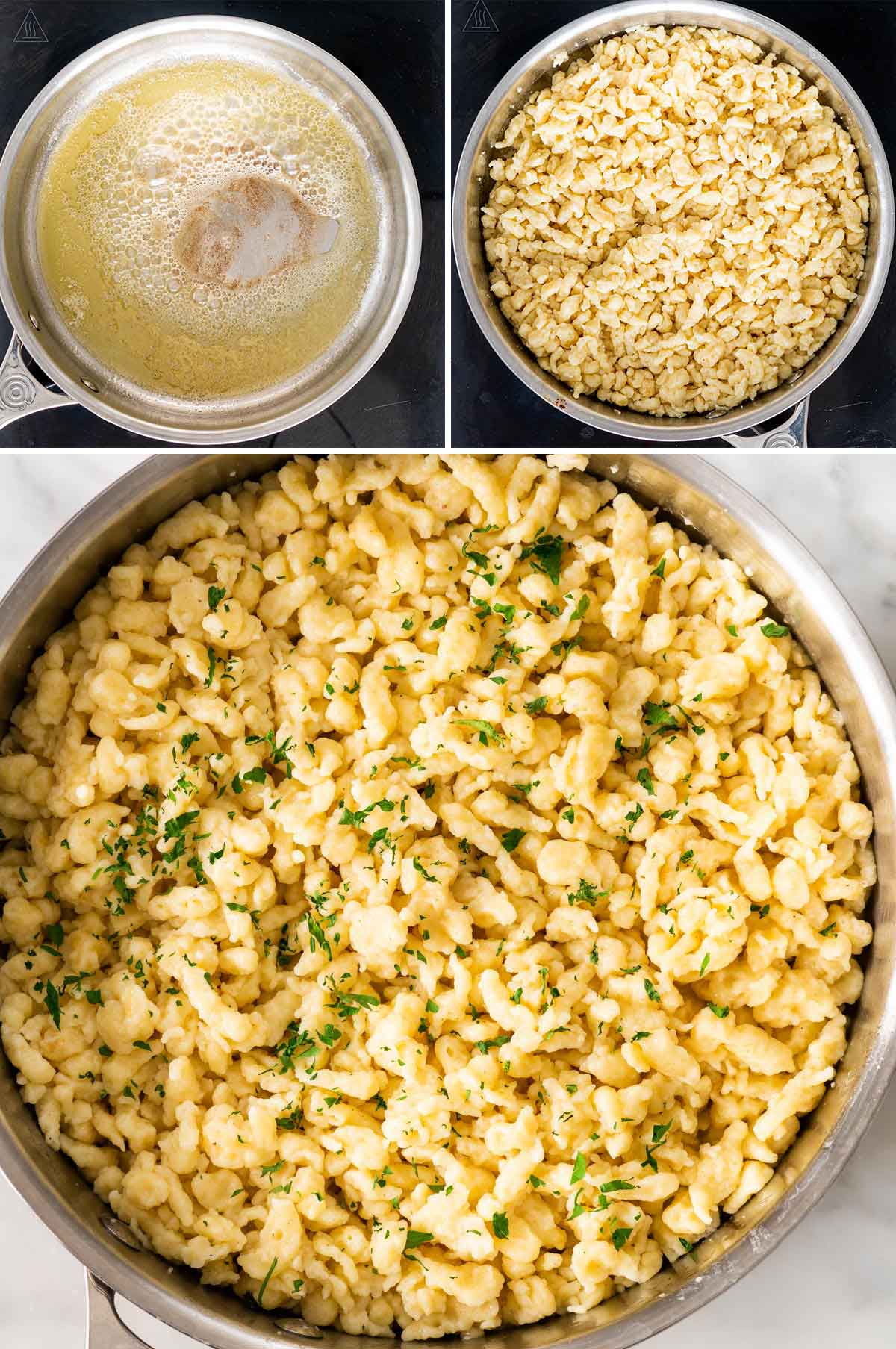 process shots showing how to cook spaetzle in brown butter