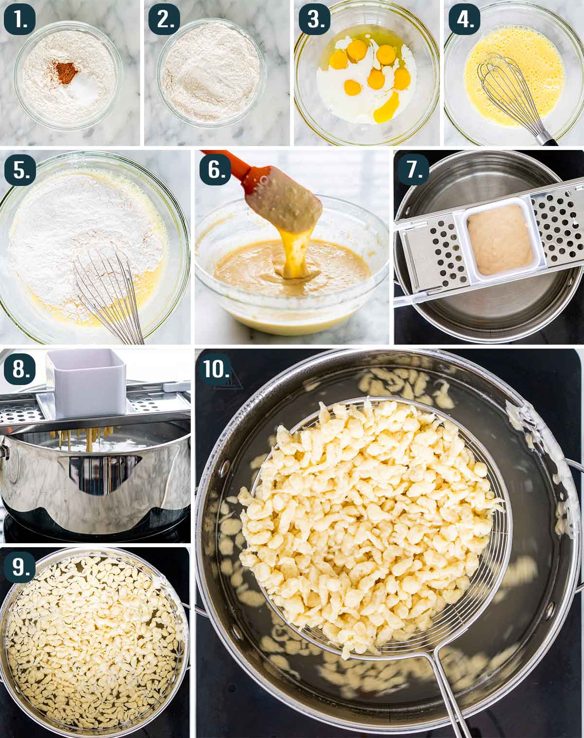 process shots showing how to make spaetzle from scratch
