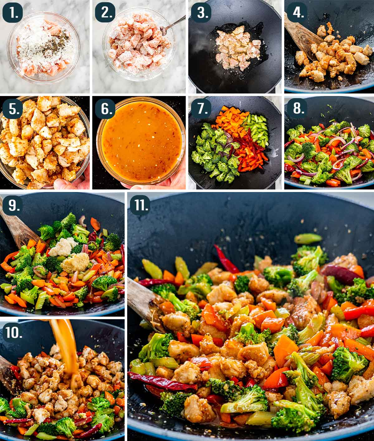 process shots showing how to easily make hunan chicken