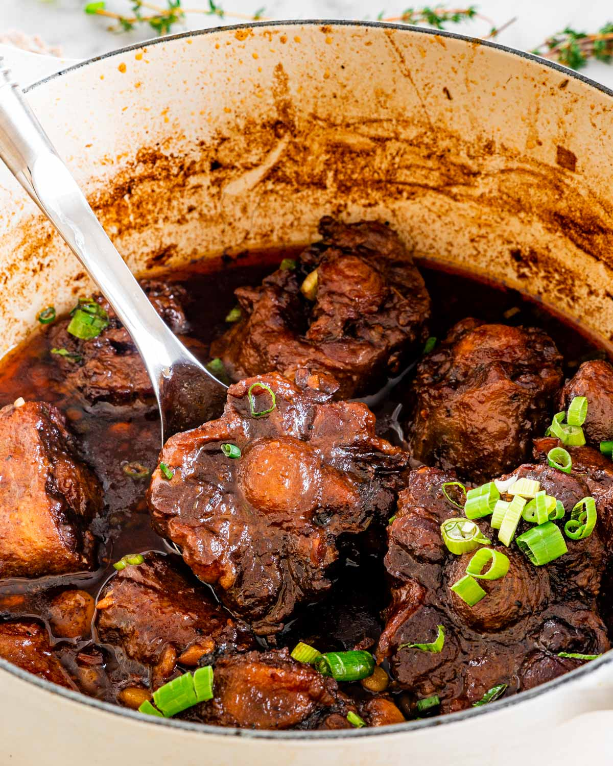 a pot of full of oxtail stew with a spoon inside holding an oxtail and garnished with green onions