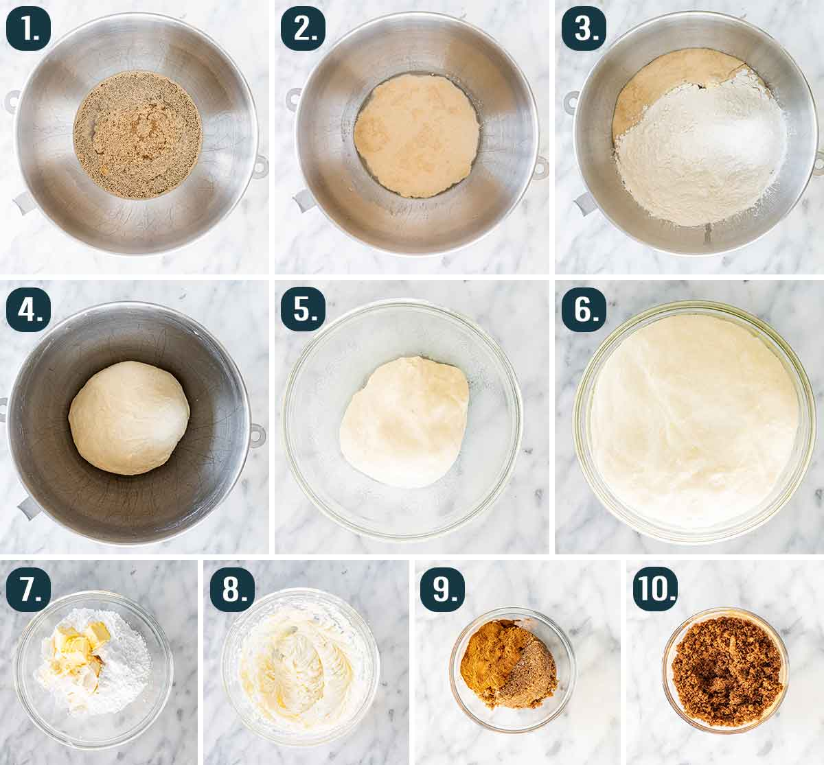 process shots showing how to make dough for cinnamon rolls