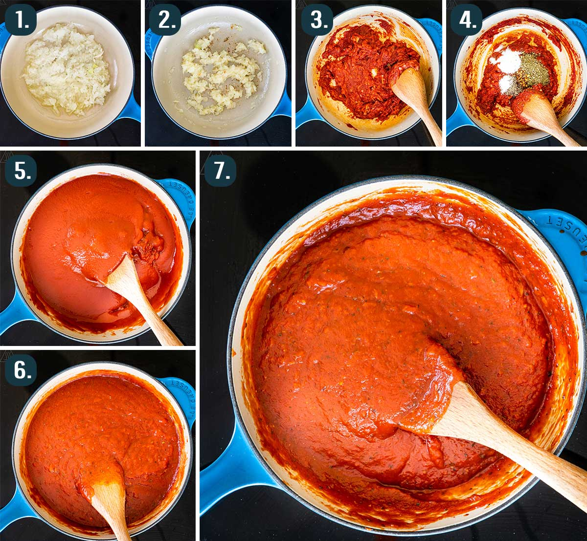 detailed process shots showing how to make homemade pizza sauce