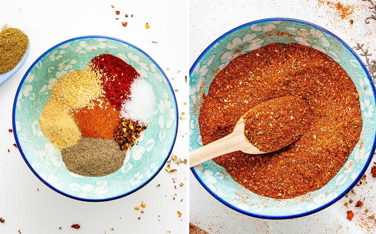 process shots showing how to make taco seasoning from scratch