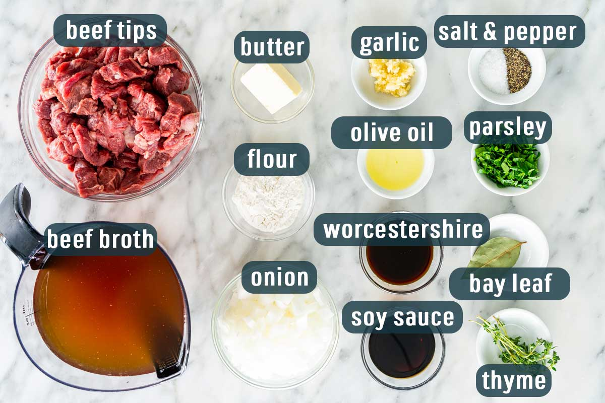overhead shot of all ingredients needed to make beef tips with gravy