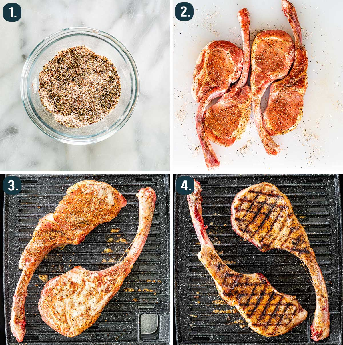 detailed process shots showing how to make grilled pork chops