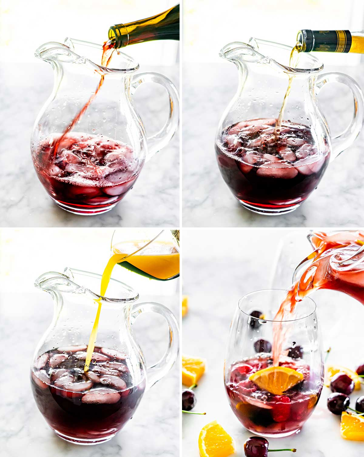 process shots showing to make a red sangria