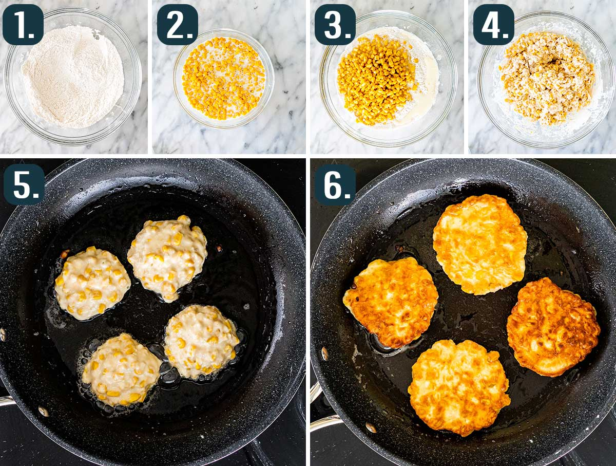 detailed process shots showing how to make corn fritters