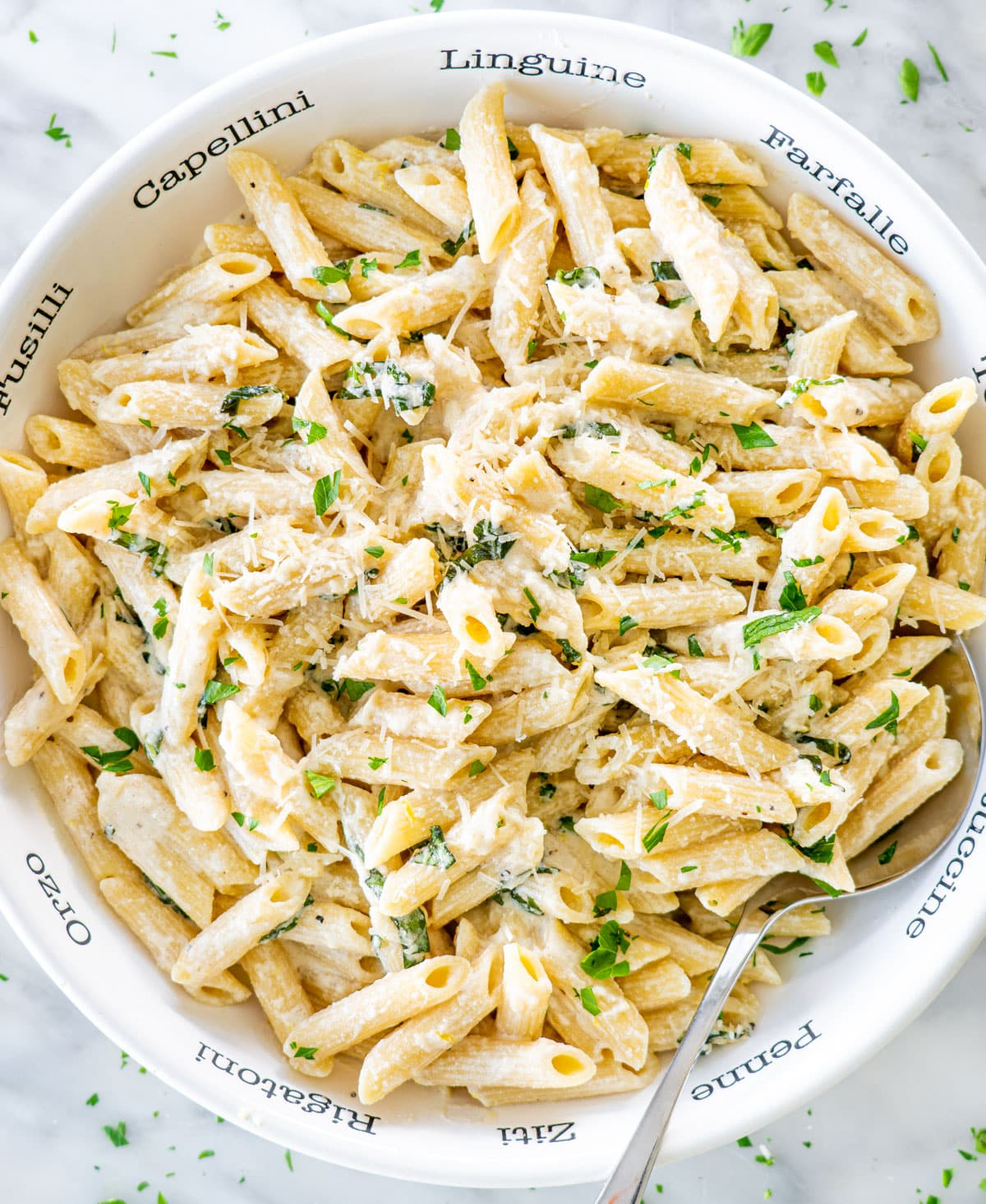 creamy goat cheese pasta in a pasta bowl garnished with fresh parsley and parmesan cheese