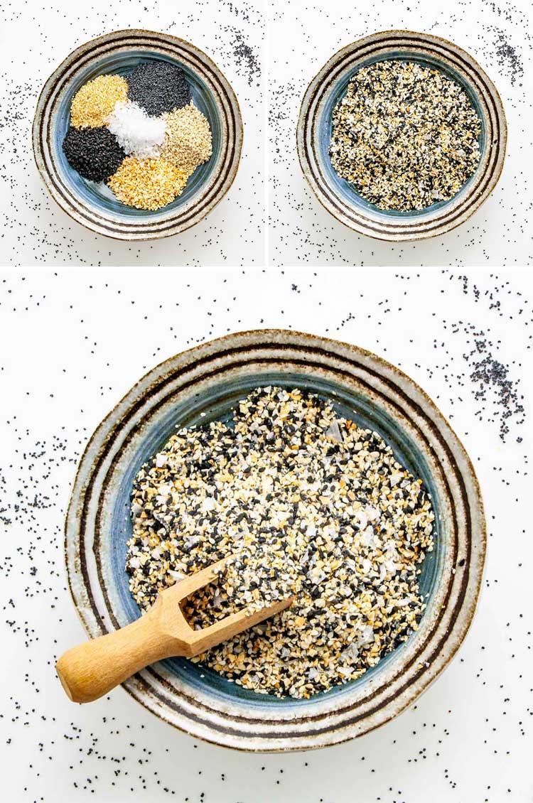 detailed process shots showing how to make everything bagel seasoning
