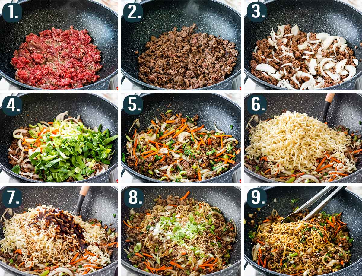 detailed process shots showing how to make hoisin beef noodles