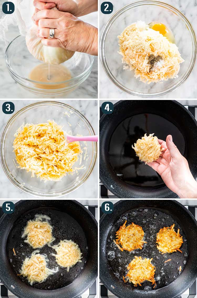 detailed process shots showing how to make potato latkes