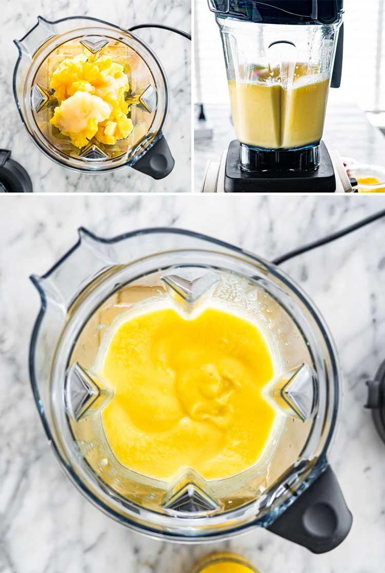 detailed process shots showing how to make Piña Colada