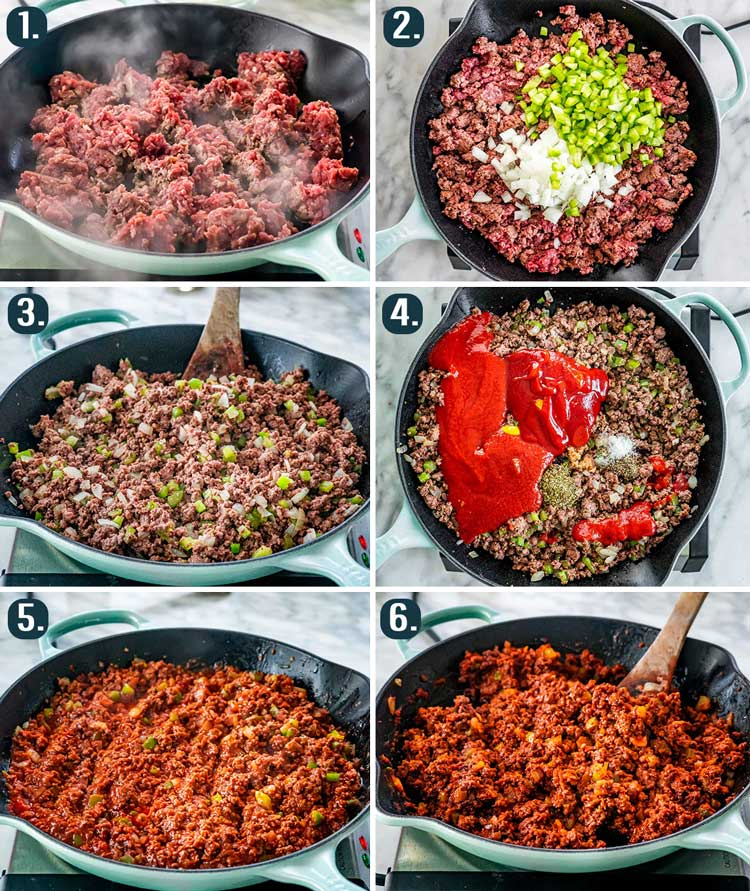 detailed process shots showing how to make sloppy joes