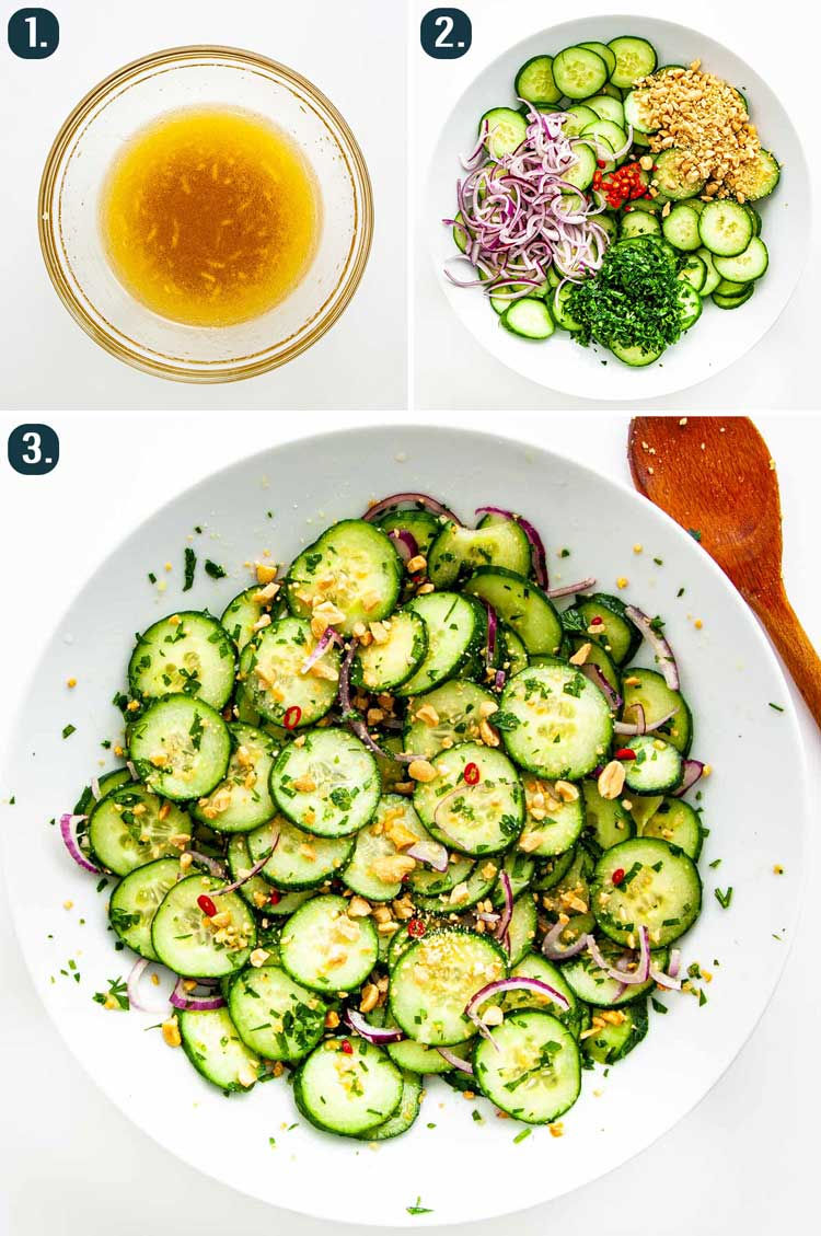 detailed process shots showing how to make thai cucumber salad